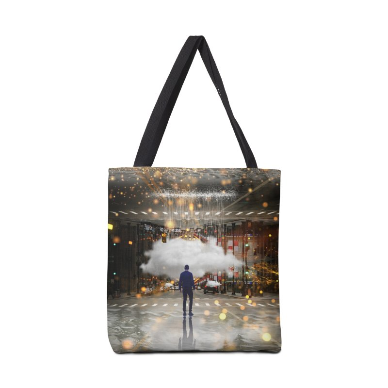 Raining on the Streets Accessories Tote Bag Bag by Vin Zzep's Artist Shop