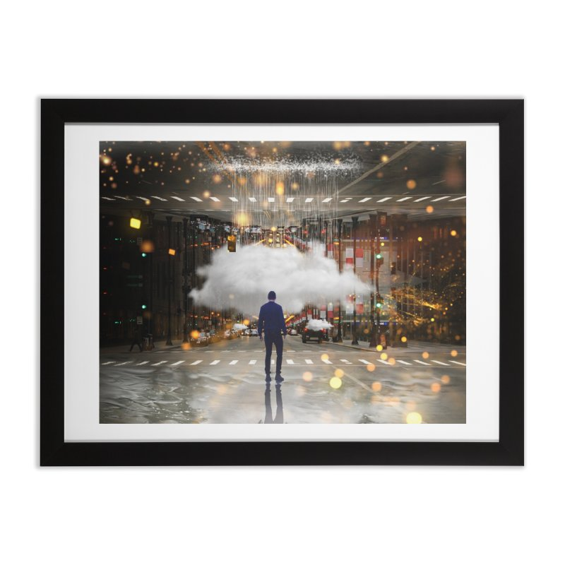 Raining on the Streets Home Framed Fine Art Print by Vin Zzep's Artist Shop