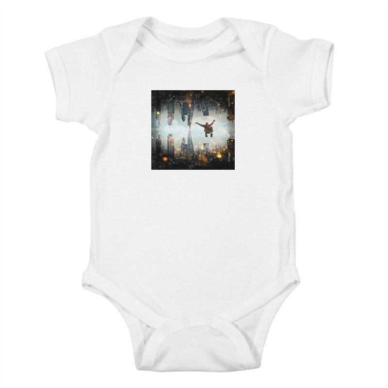 London Falling Kids Baby Bodysuit by Vin Zzep's Artist Shop