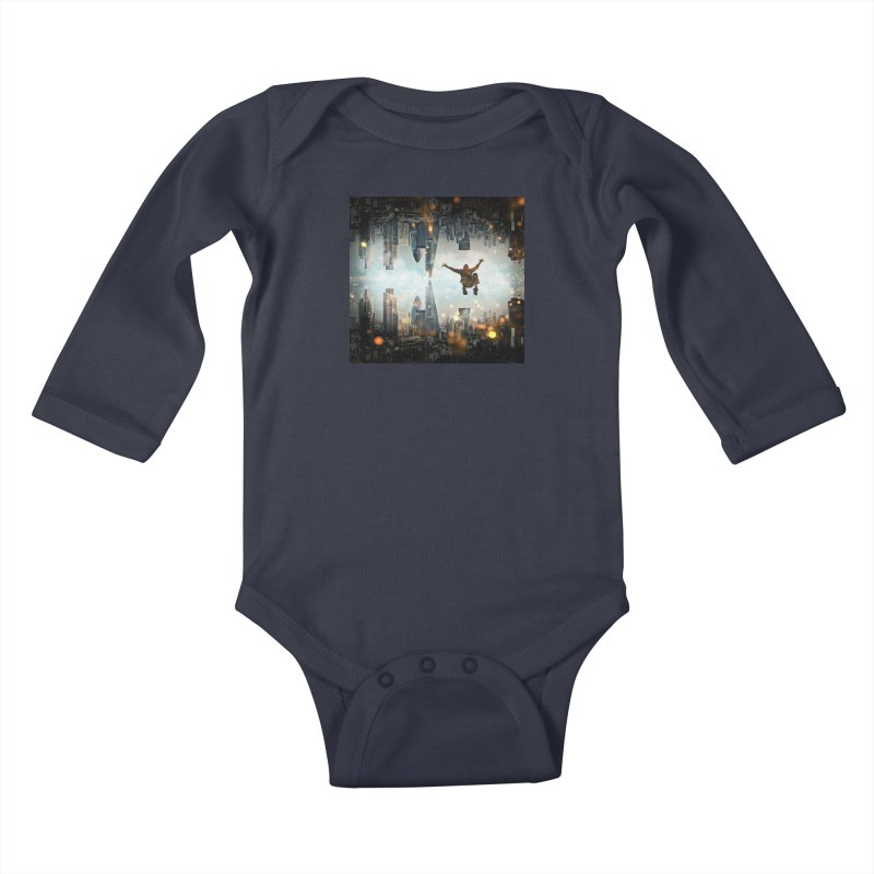 London Falling Kids Baby Longsleeve Bodysuit by Vin Zzep's Artist Shop