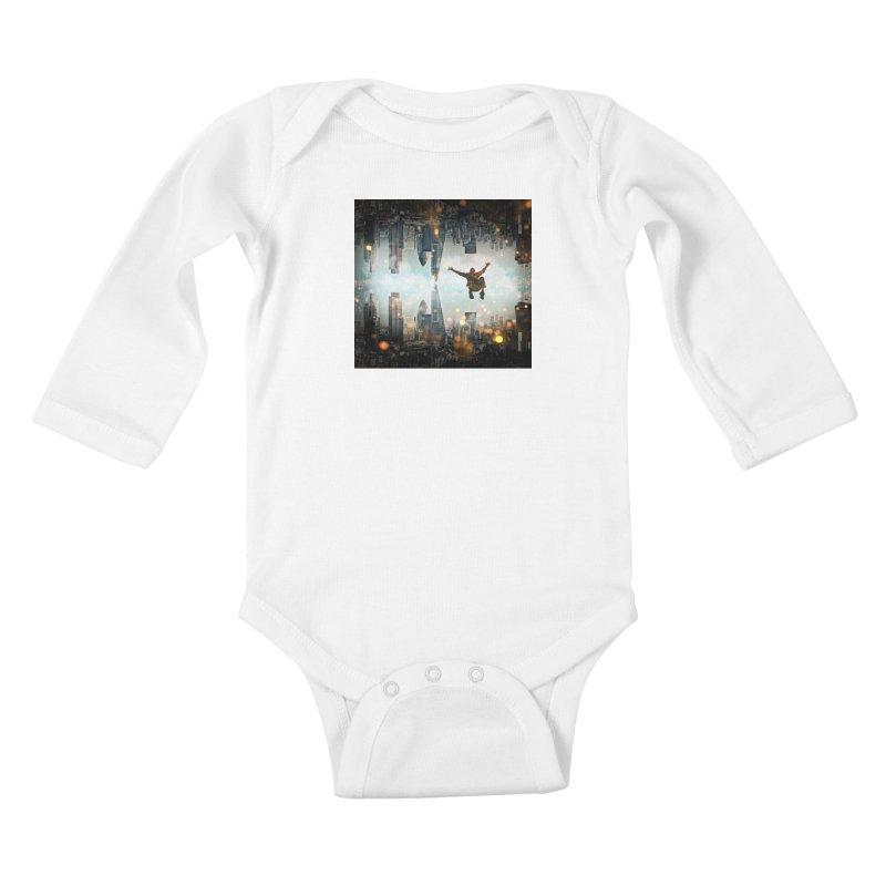 London Falling Kids Baby Longsleeve Bodysuit by Vin Zzep's Artist Shop