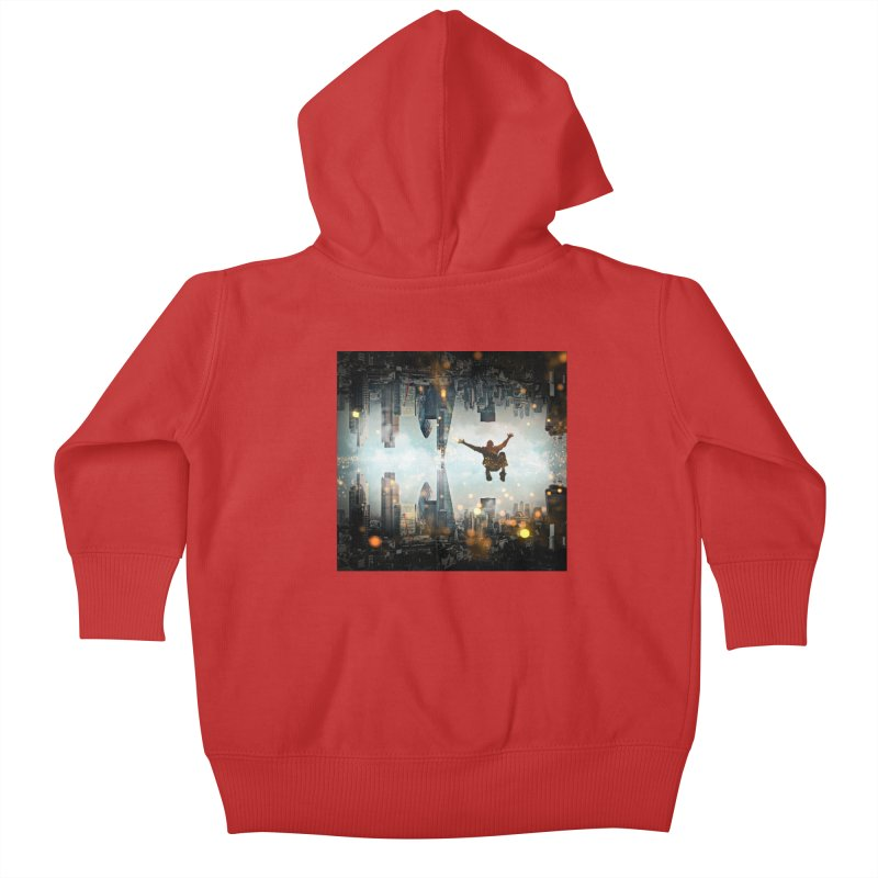 London Falling Kids Baby Zip-Up Hoody by Vin Zzep's Artist Shop