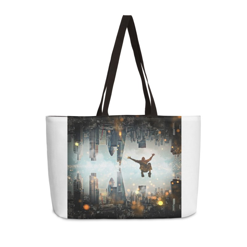 London Falling Accessories Weekender Bag Bag by Vin Zzep's Artist Shop