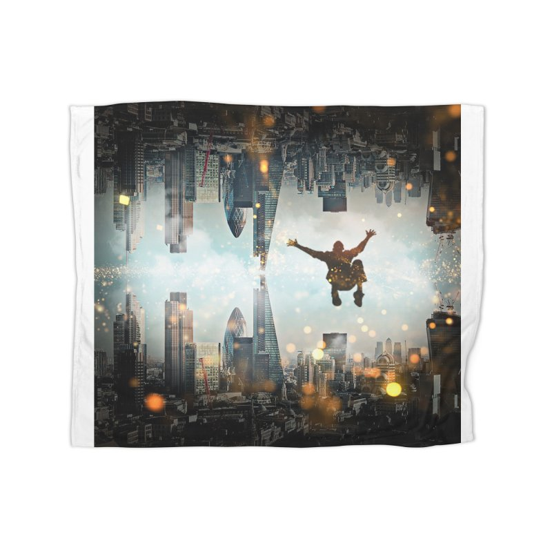 London Falling Home Fleece Blanket Blanket by Vin Zzep's Artist Shop