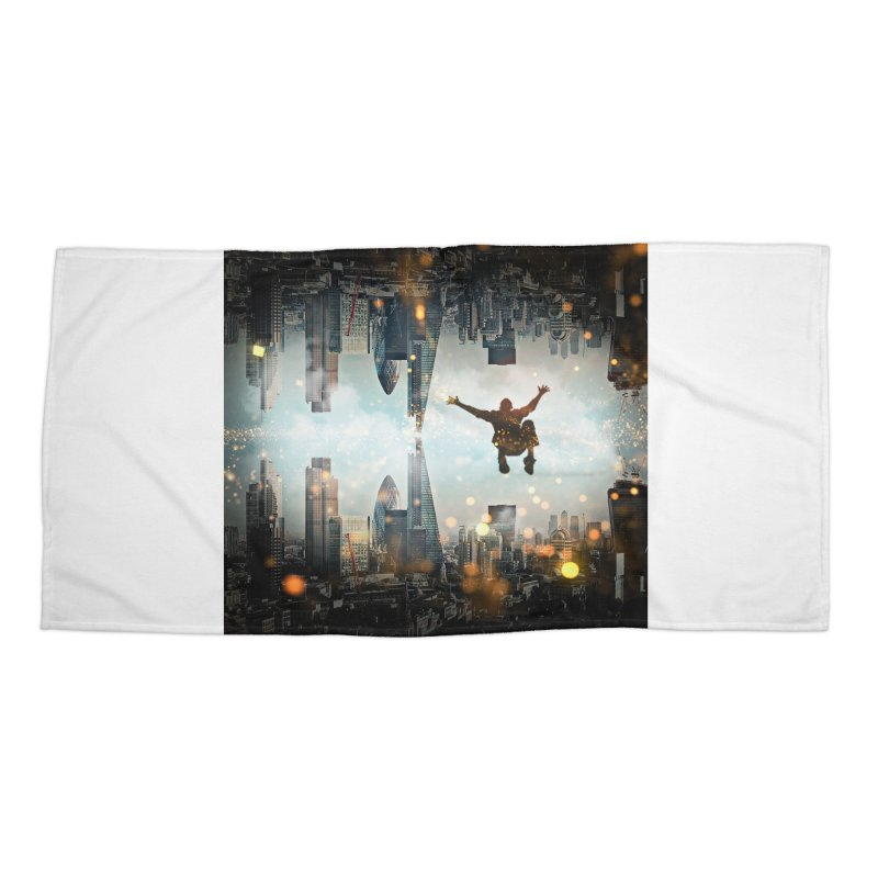 London Falling Accessories Beach Towel by Vin Zzep's Artist Shop