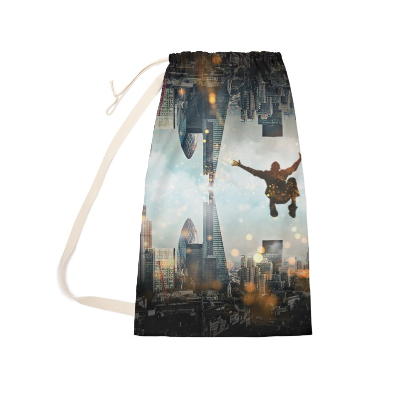 London Falling Accessories Laundry Bag Bag by Vin Zzep's Artist Shop