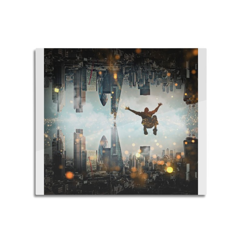 London Falling Home Mounted Aluminum Print by Vin Zzep's Artist Shop