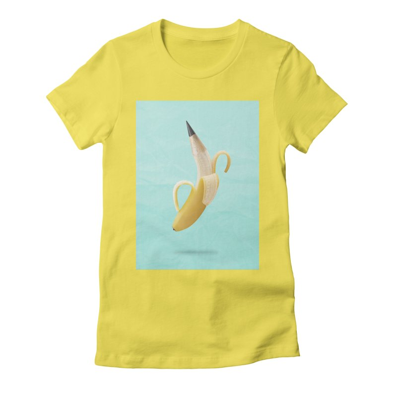 Banana Pencil Women's Fitted T-Shirt by Vin Zzep's Artist Shop