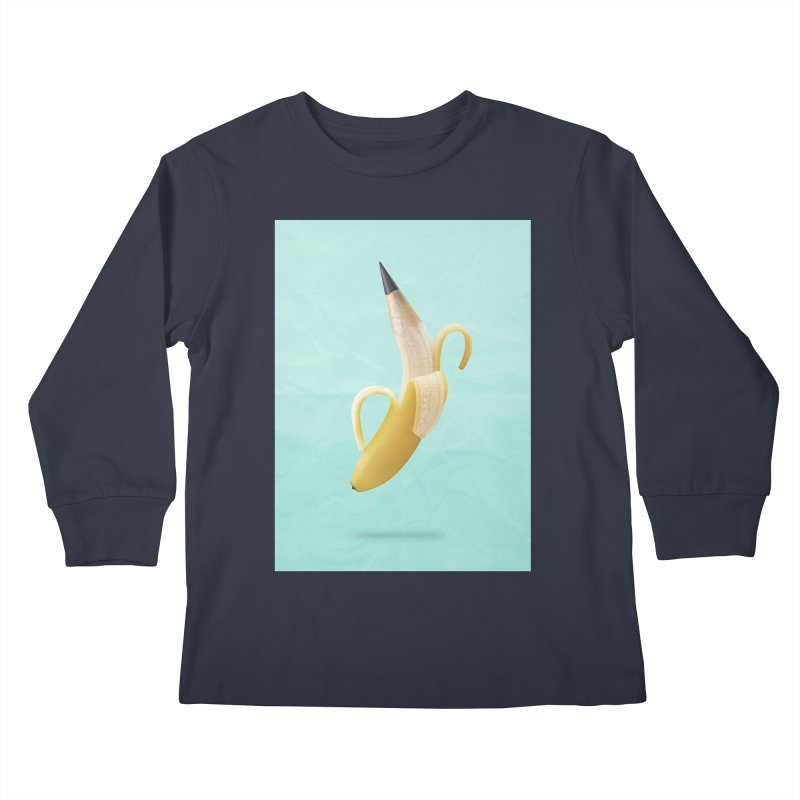 Banana Pencil Kids Longsleeve T-Shirt by Vin Zzep's Artist Shop