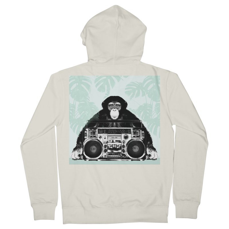Jungle Music Women's French Terry Zip-Up Hoody by Vin Zzep's Artist Shop