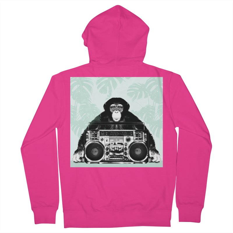 Jungle Music Men's French Terry Zip-Up Hoody by Vin Zzep's Artist Shop