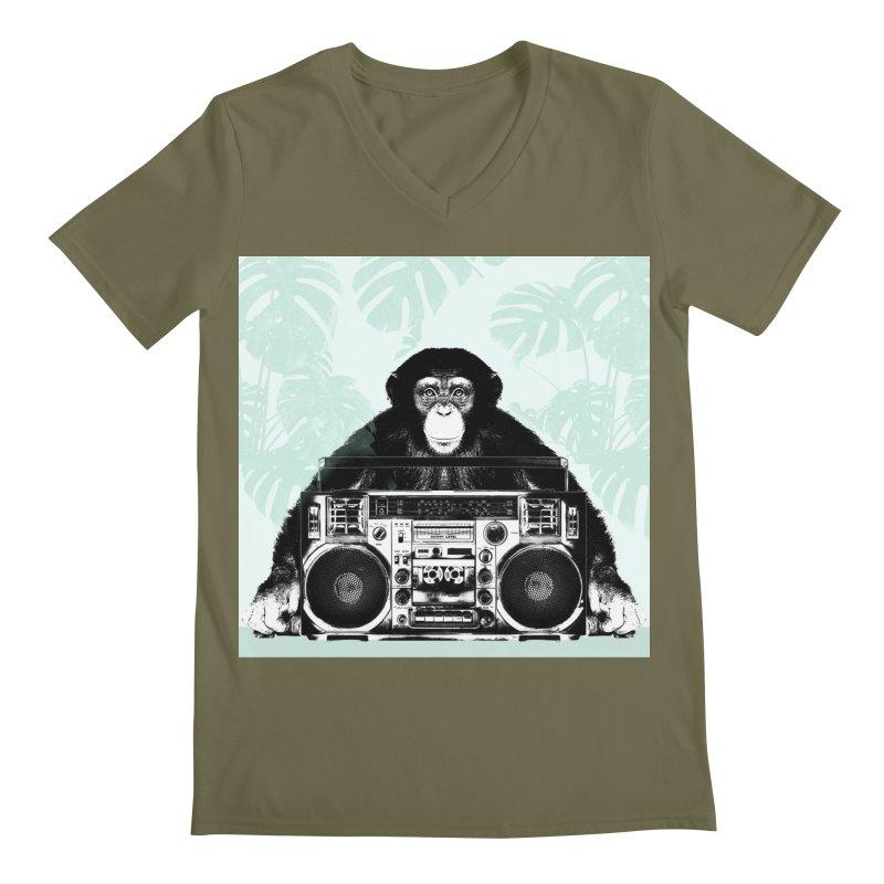 Jungle Music Men's Regular V-Neck by Vin Zzep's Artist Shop