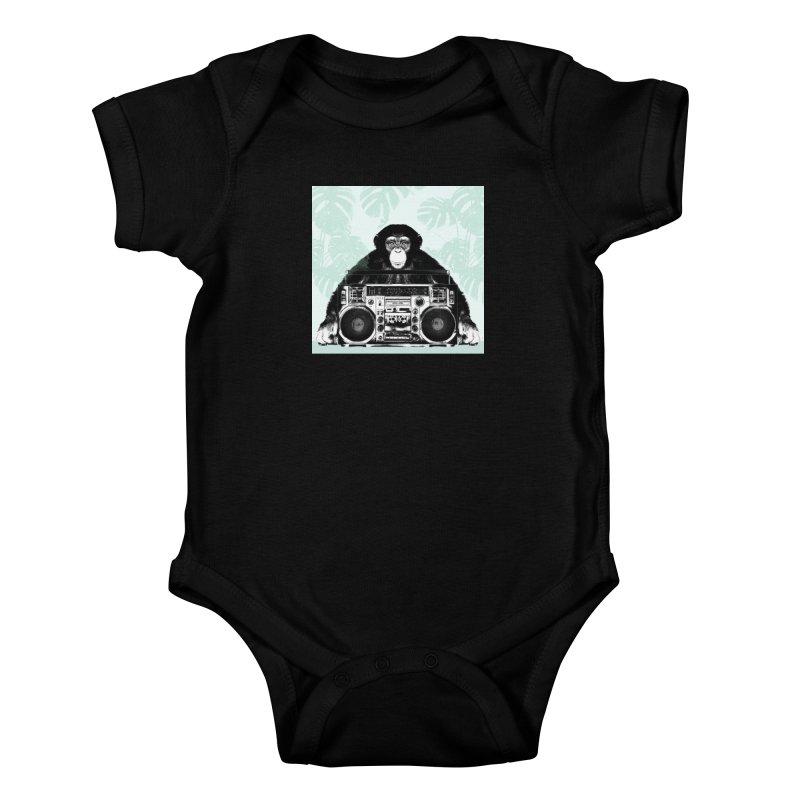 Jungle Music Kids Baby Bodysuit by Vin Zzep's Artist Shop