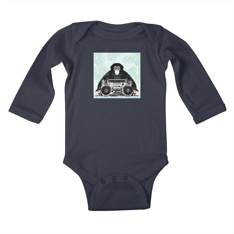 Jungle Music Kids Baby Longsleeve Bodysuit by Vin Zzep's Artist Shop