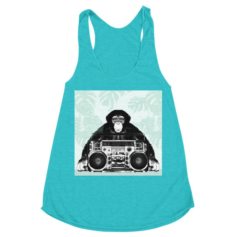 Jungle Music Women's Racerback Triblend Tank by Vin Zzep's Artist Shop
