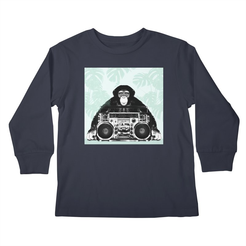 Jungle Music Kids Longsleeve T-Shirt by Vin Zzep's Artist Shop