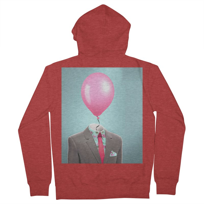 Balloon head and Flamingo shirt Men's French Terry Zip-Up Hoody by Vin Zzep's Artist Shop