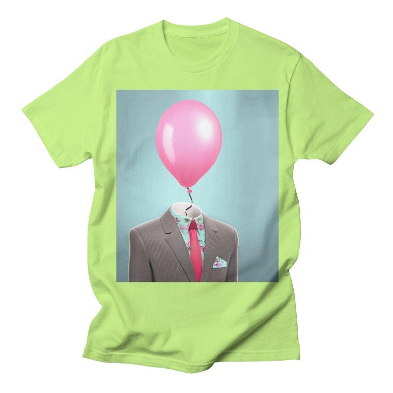 Balloon head and Flamingo shirt Men's Regular T-Shirt by Vin Zzep's Artist Shop