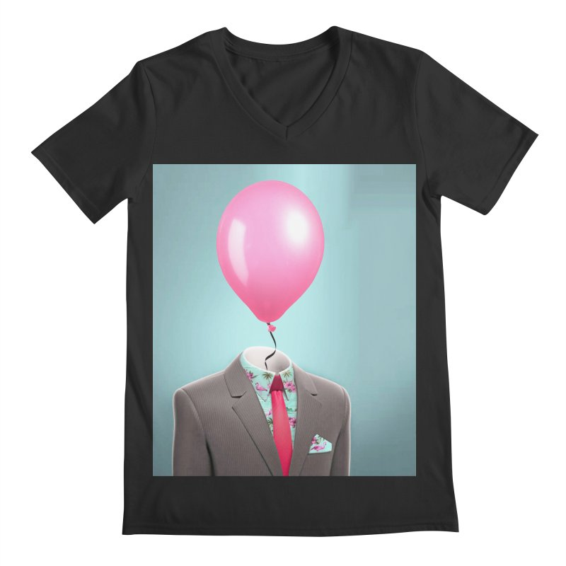 Balloon head and Flamingo shirt Men's Regular V-Neck by Vin Zzep's Artist Shop