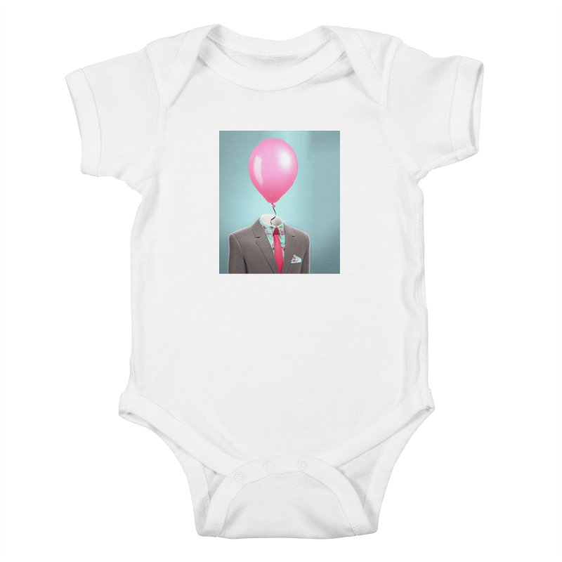 Balloon head and Flamingo shirt Kids Baby Bodysuit by Vin Zzep's Artist Shop
