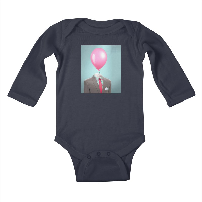 Balloon head and Flamingo shirt Kids Baby Longsleeve Bodysuit by Vin Zzep's Artist Shop