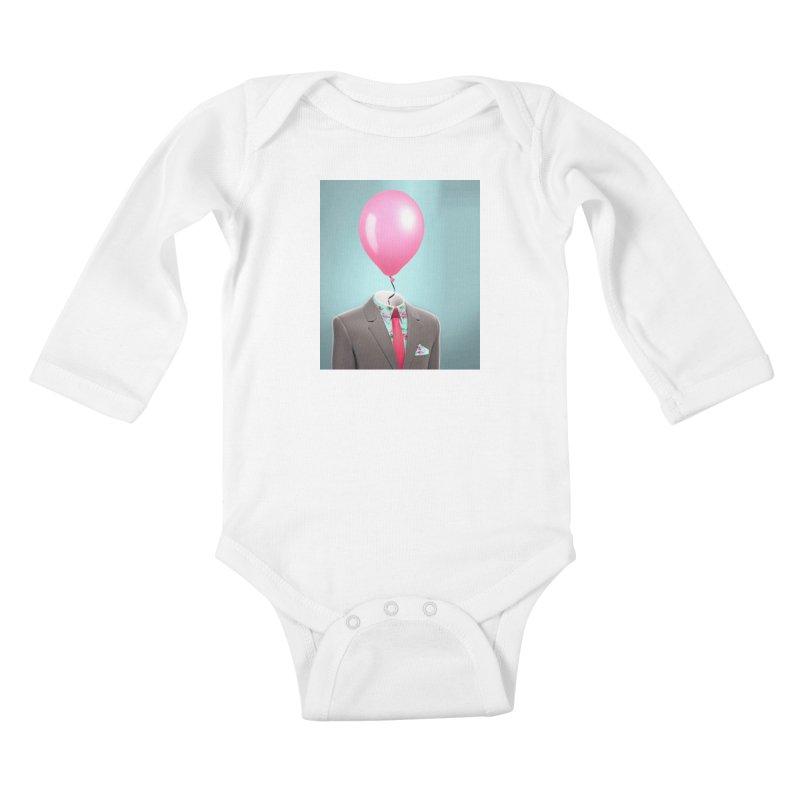 Balloon head and Flamingo shirt Kids Baby Longsleeve Bodysuit by Vin Zzep's Artist Shop