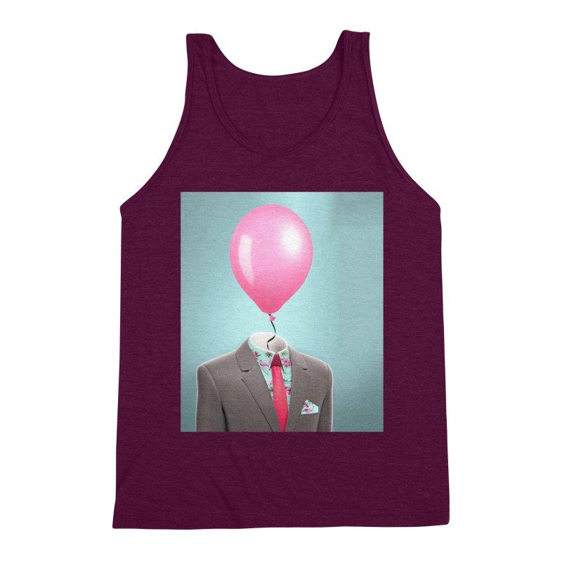 Balloon head and Flamingo shirt Men's Triblend Tank by Vin Zzep's Artist Shop