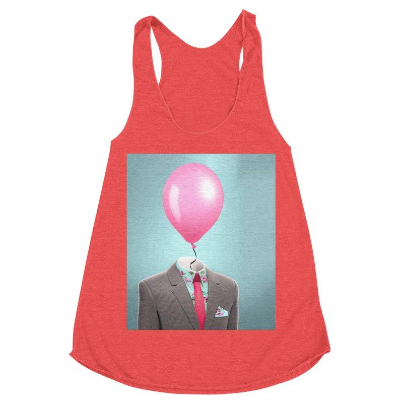 Balloon head and Flamingo shirt Women's Racerback Triblend Tank by Vin Zzep's Artist Shop