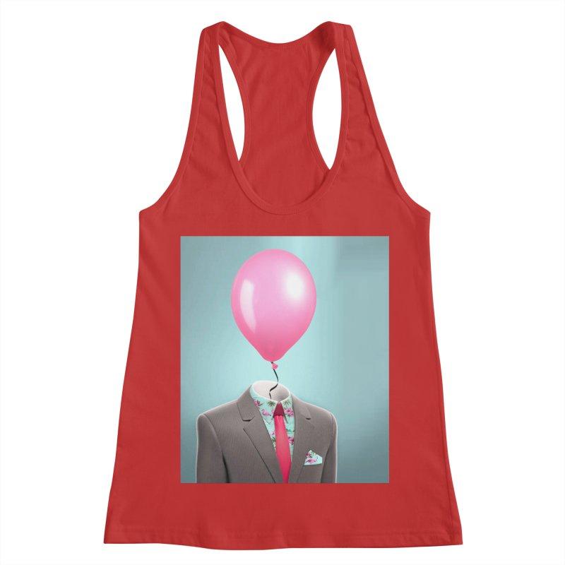 Balloon head and Flamingo shirt Women's Racerback Tank by Vin Zzep's Artist Shop