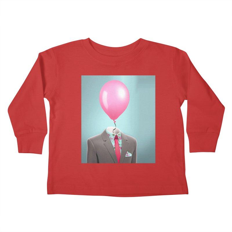 Balloon head and Flamingo shirt Kids Toddler Longsleeve T-Shirt by Vin Zzep's Artist Shop