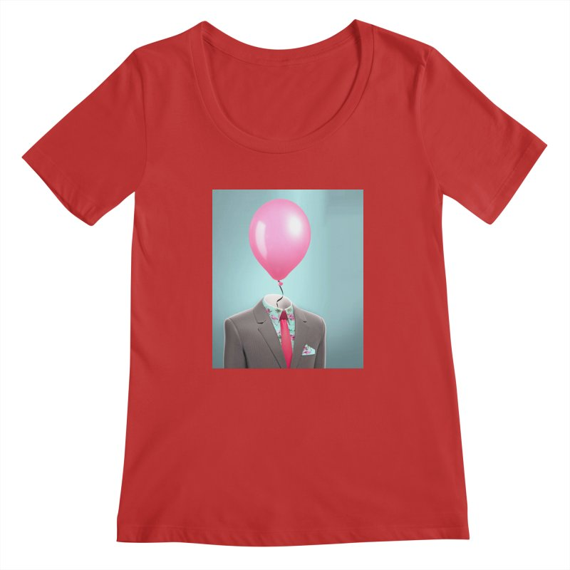 Balloon head and Flamingo shirt Women's Regular Scoop Neck by Vin Zzep's Artist Shop