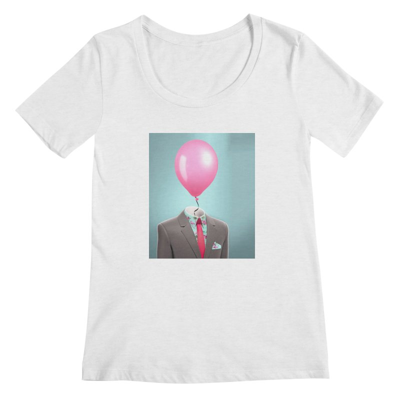 Balloon head and Flamingo shirt Women's Regular Scoop Neck by Vin Zzep's Artist Shop