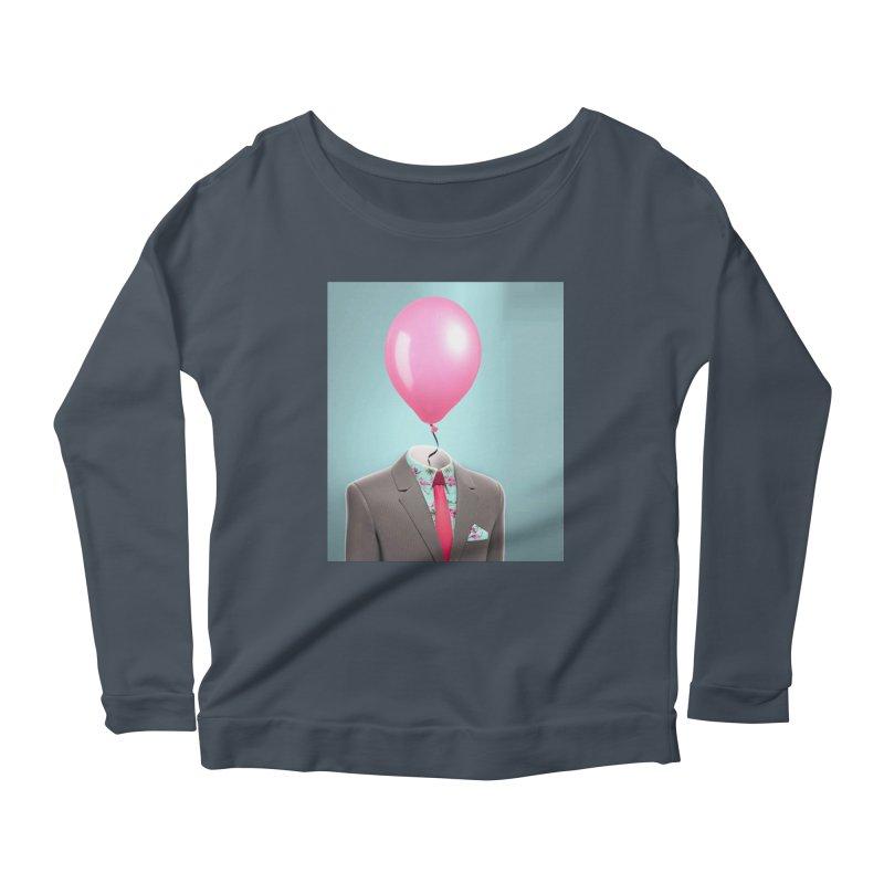 Balloon head and Flamingo shirt Women's Scoop Neck Longsleeve T-Shirt by Vin Zzep's Artist Shop