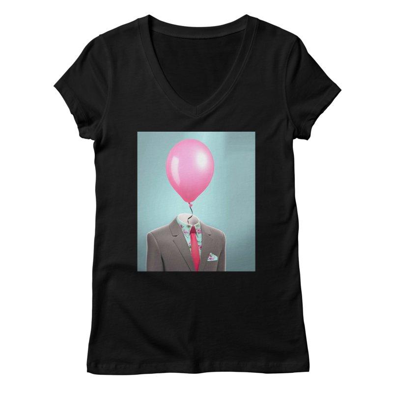Balloon head and Flamingo shirt Women's Regular V-Neck by Vin Zzep's Artist Shop