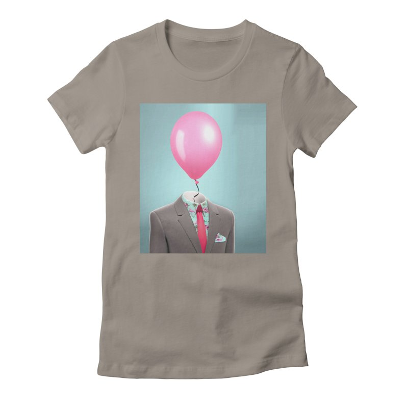 Balloon head and Flamingo shirt Women's Fitted T-Shirt by Vin Zzep's Artist Shop