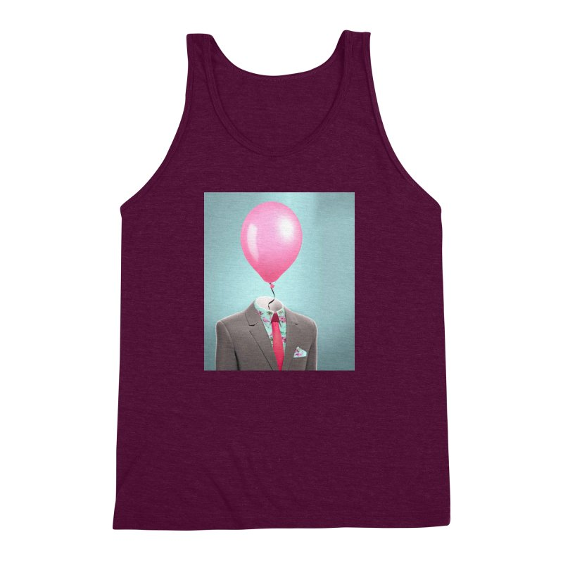 Balloon head and Flamingo shirt Men's Triblend Tank by Vin Zzep's Artist Shop