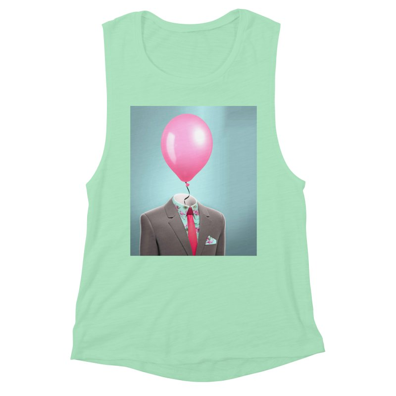 Balloon head and Flamingo shirt Women's Muscle Tank by Vin Zzep's Artist Shop