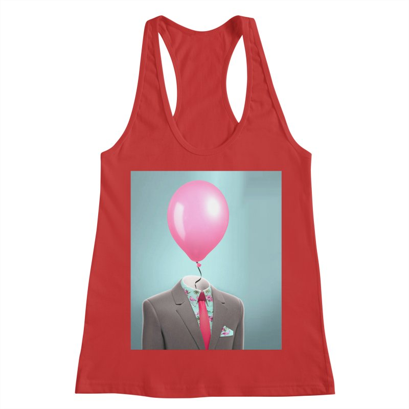 Balloon head and Flamingo shirt Women's Racerback Tank by Vin Zzep's Artist Shop