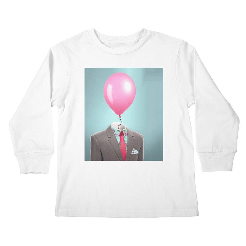 Balloon head and Flamingo shirt Kids Longsleeve T-Shirt by Vin Zzep's Artist Shop