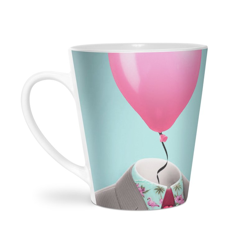Balloon head and Flamingo shirt Accessories Latte Mug by Vin Zzep's Artist Shop