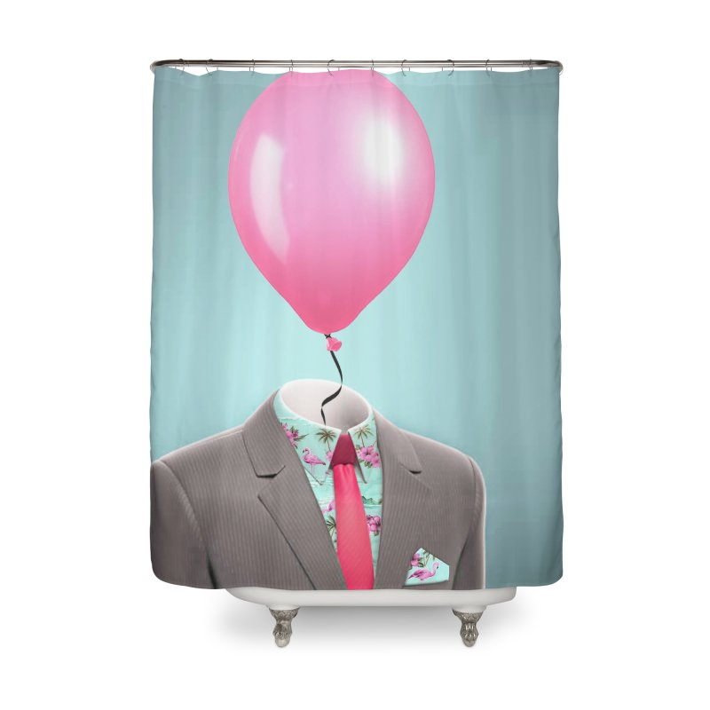 Balloon head and Flamingo shirt Home Shower Curtain by Vin Zzep's Artist Shop