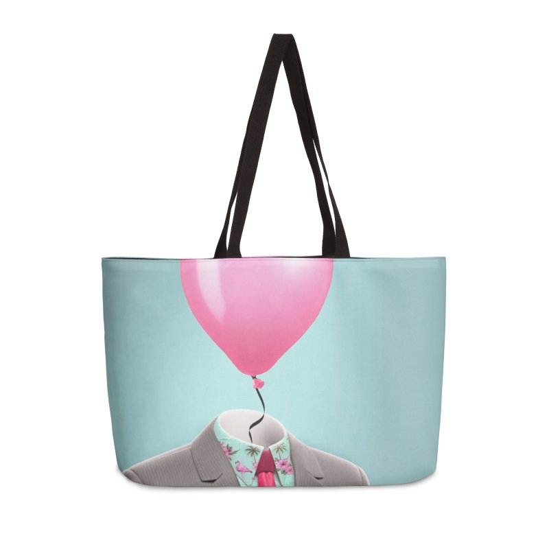 Balloon head and Flamingo shirt Accessories Weekender Bag Bag by Vin Zzep's Artist Shop