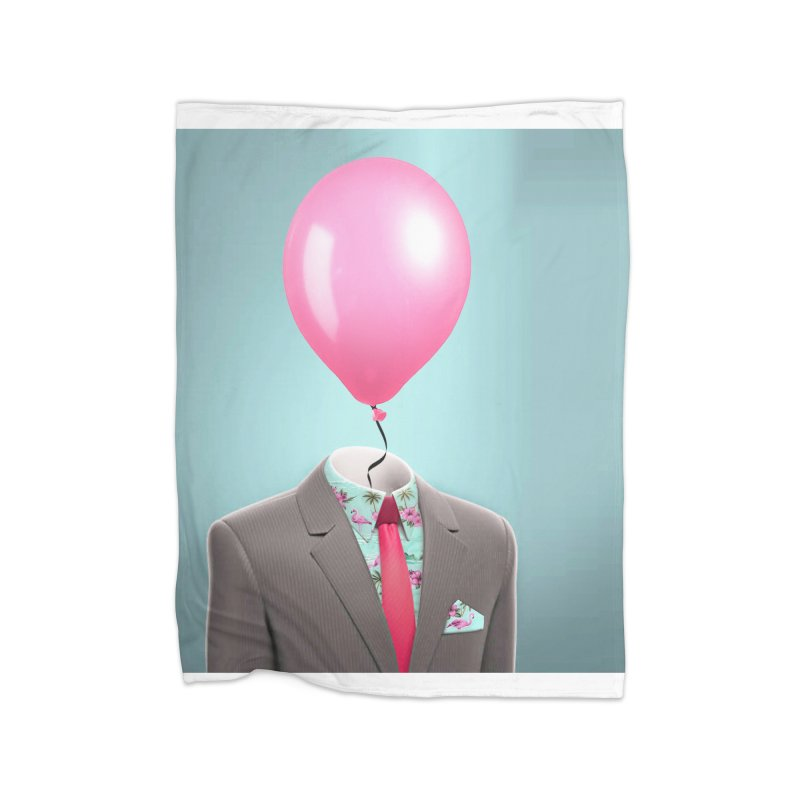 Balloon head and Flamingo shirt Home Fleece Blanket Blanket by Vin Zzep's Artist Shop