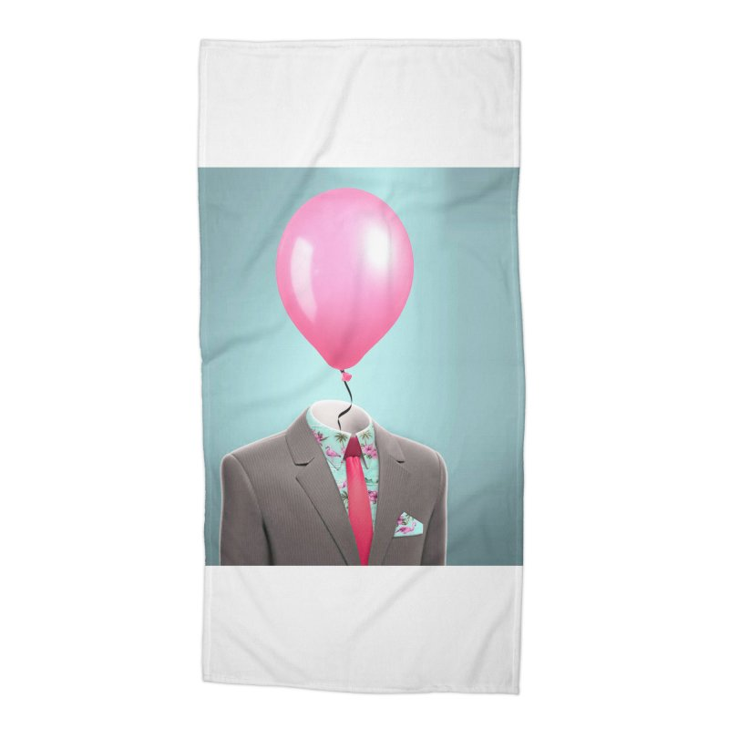 Balloon head and Flamingo shirt Accessories Beach Towel by Vin Zzep's Artist Shop