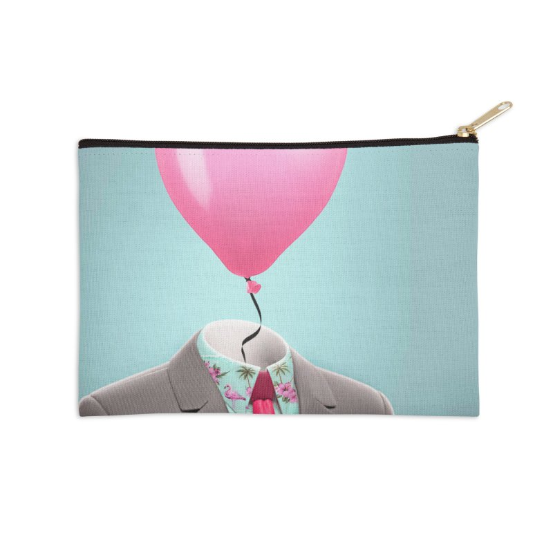 Balloon head and Flamingo shirt Accessories Zip Pouch by Vin Zzep's Artist Shop
