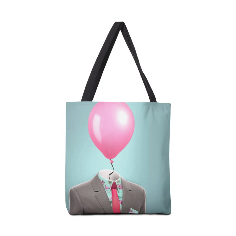 Balloon head and Flamingo shirt Accessories Tote Bag Bag by Vin Zzep's Artist Shop