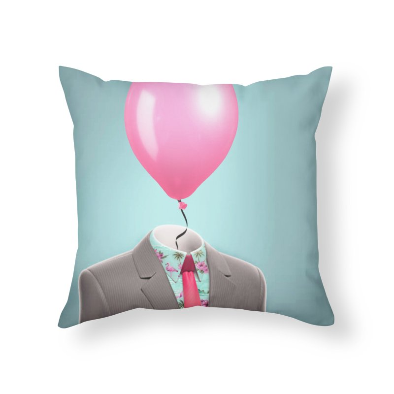 Balloon head and Flamingo shirt Home Throw Pillow by Vin Zzep's Artist Shop