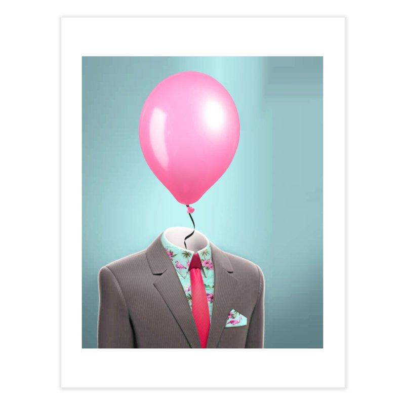 Balloon head and Flamingo shirt Home Fine Art Print by Vin Zzep's Artist Shop