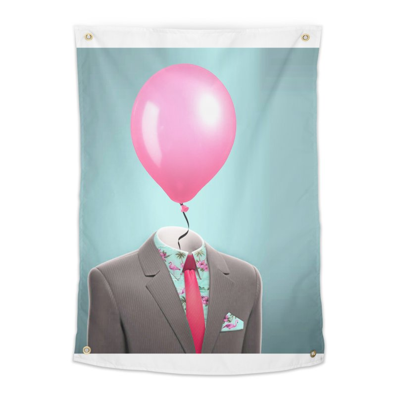 Balloon head and Flamingo shirt Home Tapestry by Vin Zzep's Artist Shop
