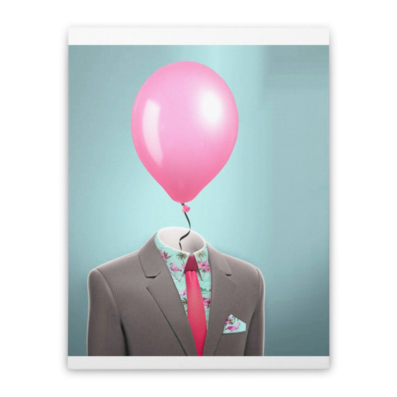 Balloon head and Flamingo shirt Home Stretched Canvas by Vin Zzep's Artist Shop